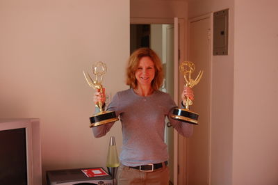 Me holding two REAL Emmy's.