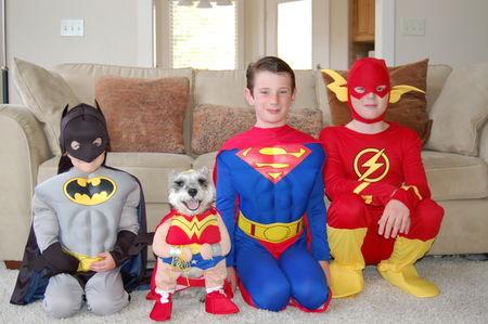 Boys and Mary as superheros.