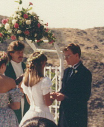 Chris and Chrisy exchanging vows.