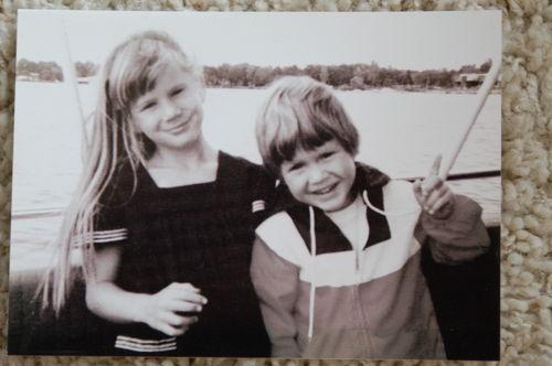 Chrisy and Joey 1970-something. Mamaw and Papaw's boat on Lake Wawasee