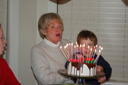 Mother's birthday 2008 - blowing out candles