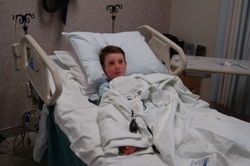 Middle Boy waiting for his IV after one failed attempt.