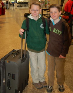 Oldest Boy and Middle Boy on their way to Arizona - 2.28.09