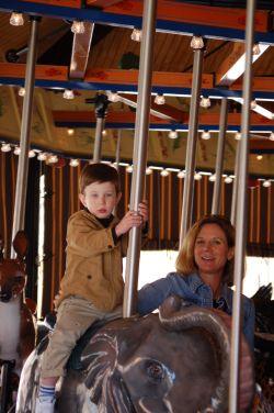 Toddler Child and me on the carousel - March 2009