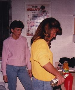Em and Chrisy, a little drinky - NAU 1986-ish
