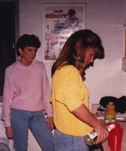 Em and Chrisy, a little drinky - NAU 1986-ish