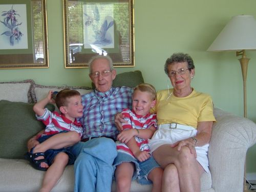 Mamaw, Papaw, Oldest Boy and Middle Boy - July 2004