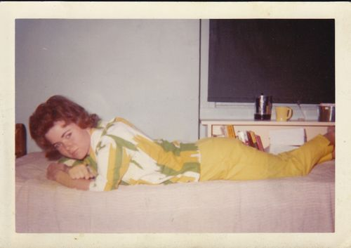 Mother in her dorm room in college.