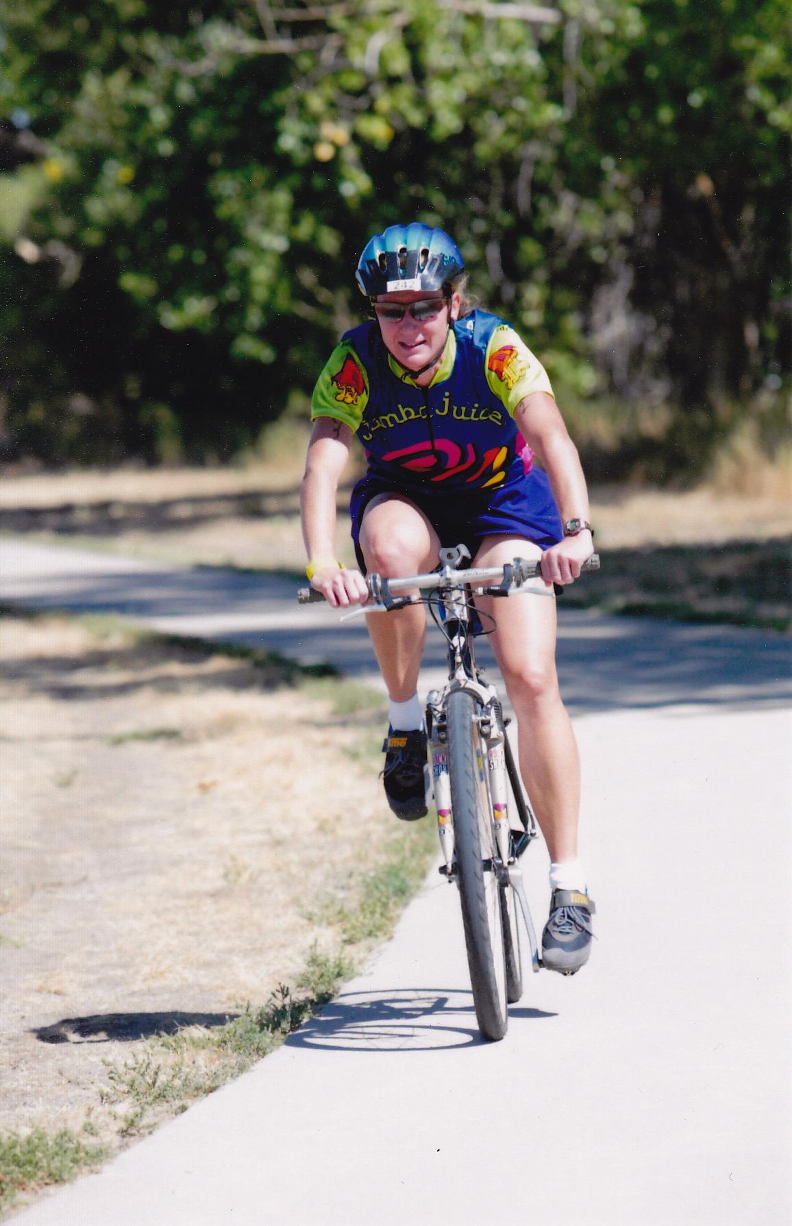 Triathalon in Denver 2002 - rode my mountain bike with slicks.
