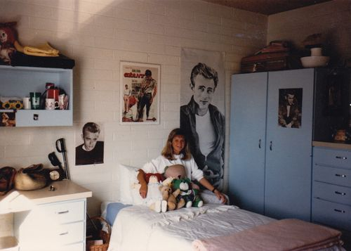 Reluctantly sitting on my bed - Flagstaff, Arizona - NAU 1986