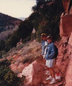 Em and Chrisy hiking - Sedona 1986-ish
