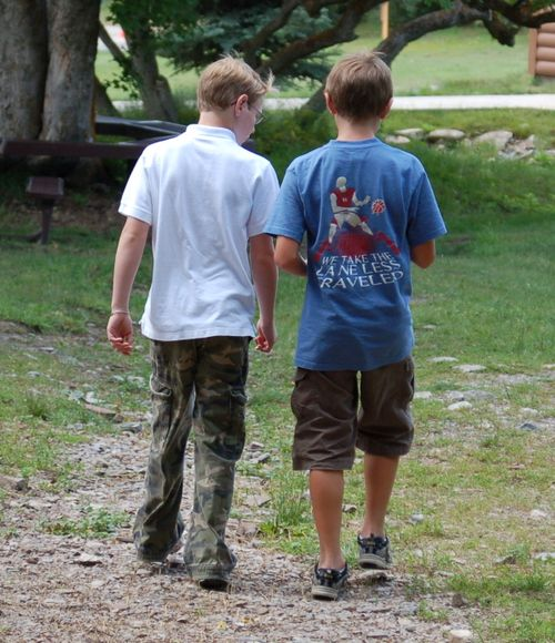 Oldest Boy and friend at diabetes camp. June 2009