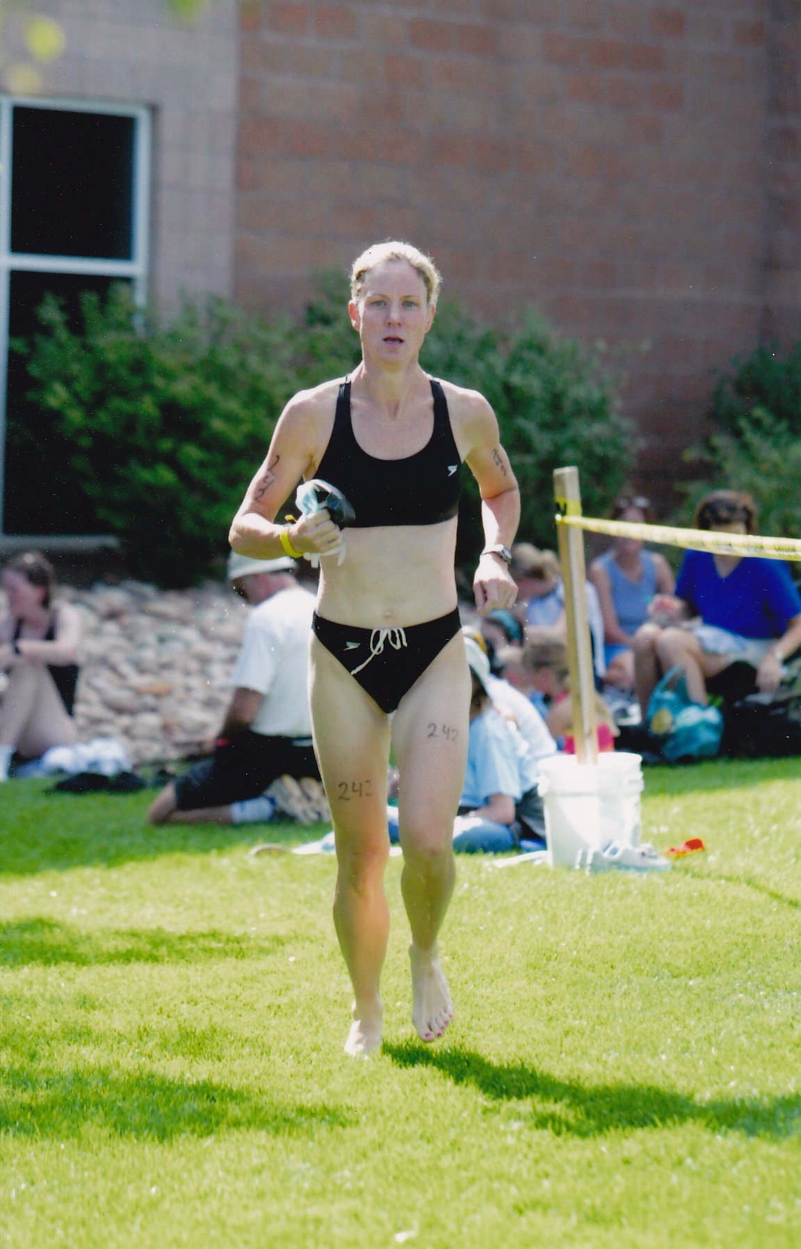 Triathlon in Denver 2002 - transition from swim to bike.