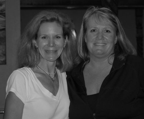 Lynn P. Carlson and me and my frizzy hair.