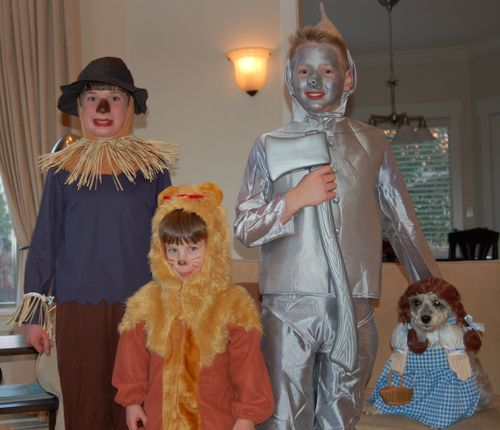 Oldest Boy [12-Tin Man], Middle Boy [10 - Scarecrow], 4YO Boy [Cowardly Lion], and Mary as Dorothy