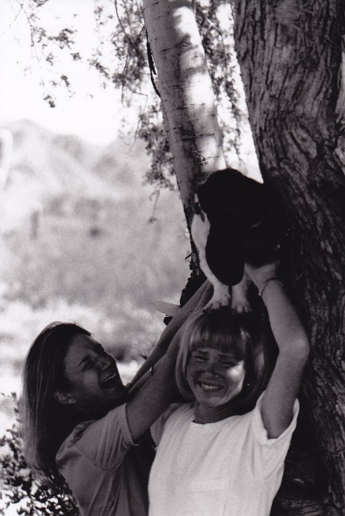 Mom and I trying to get Judy to stand in the tree.