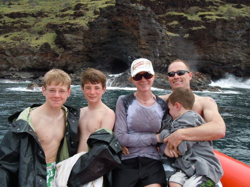 Family In Front Of The Blow Hole