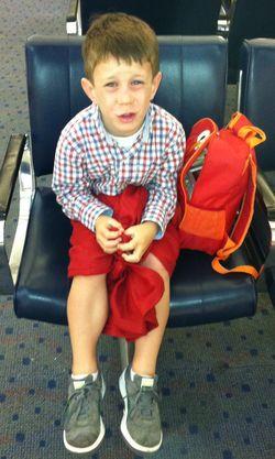 The 5YO in his sarong/kilt.