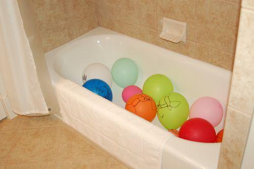 Balloons in the bathtub